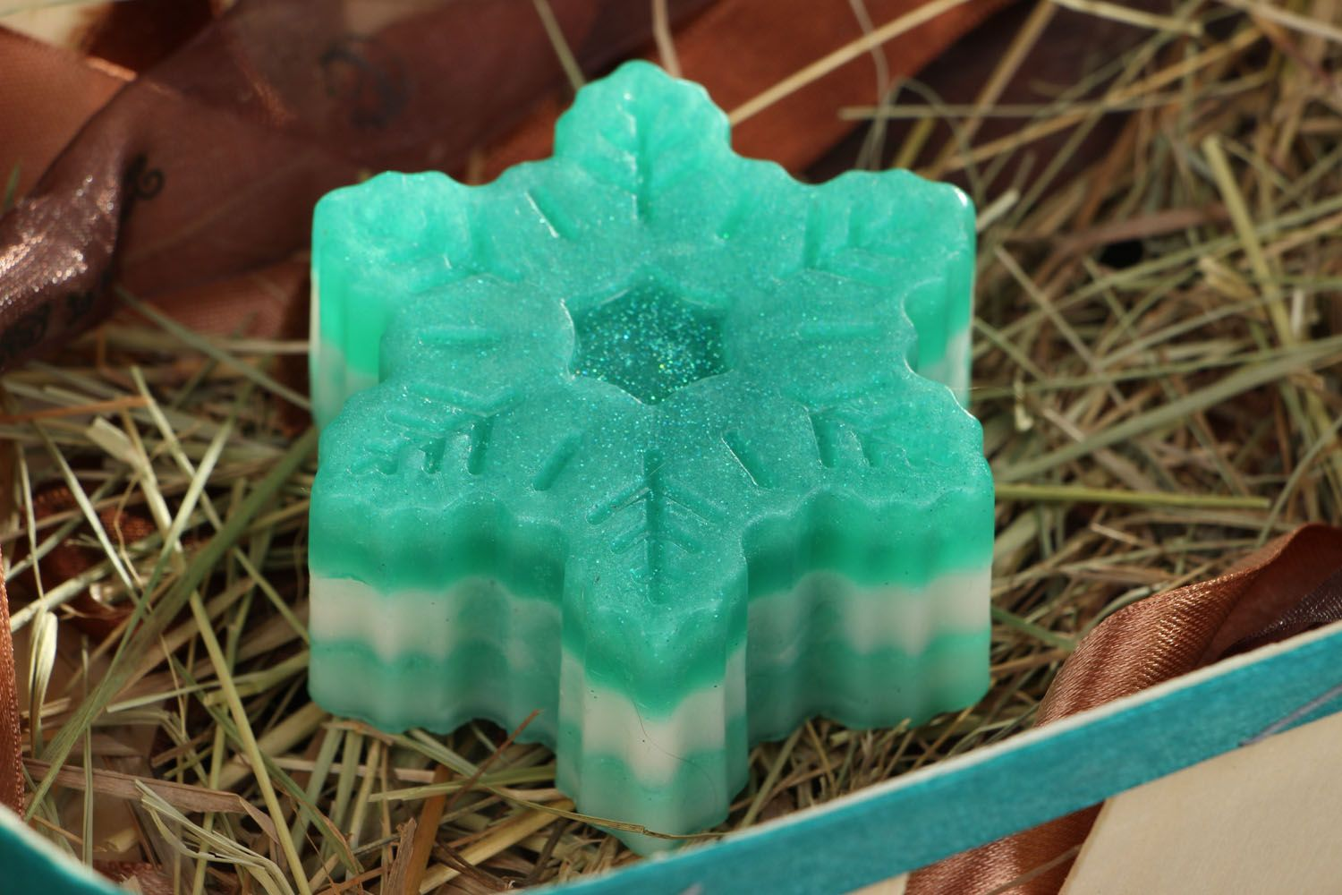 New Year's homemade soap Mint Snowflake photo 4