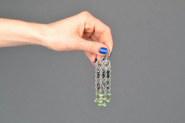 Metal earrings with glass beads photo 2