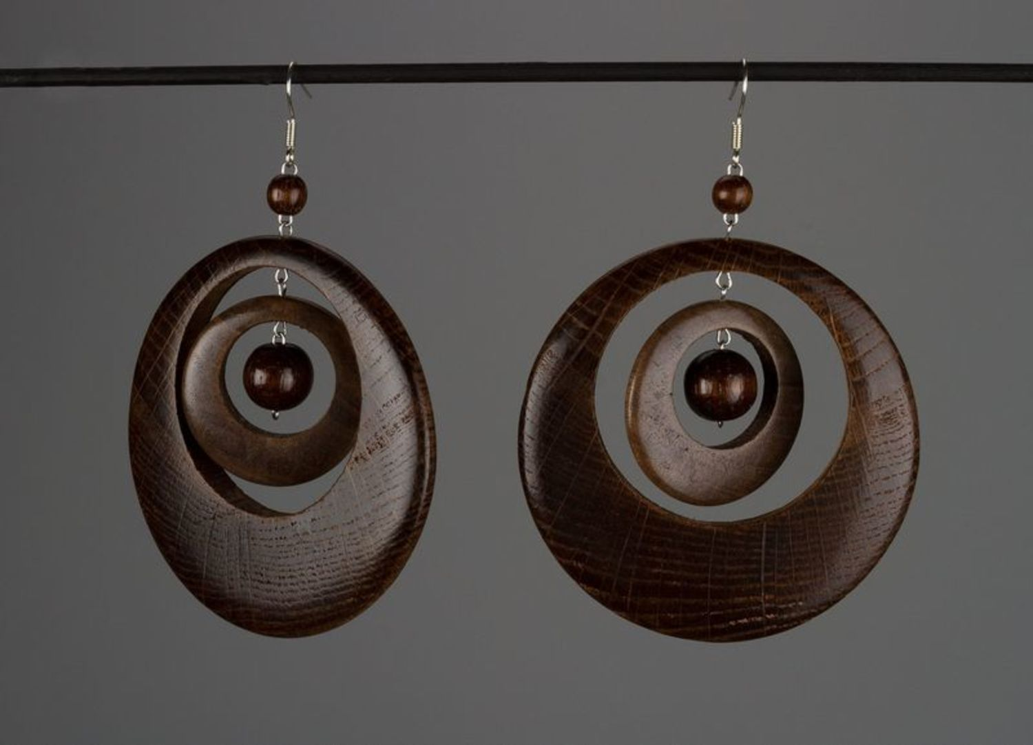 Earrings made of natural wood photo 1