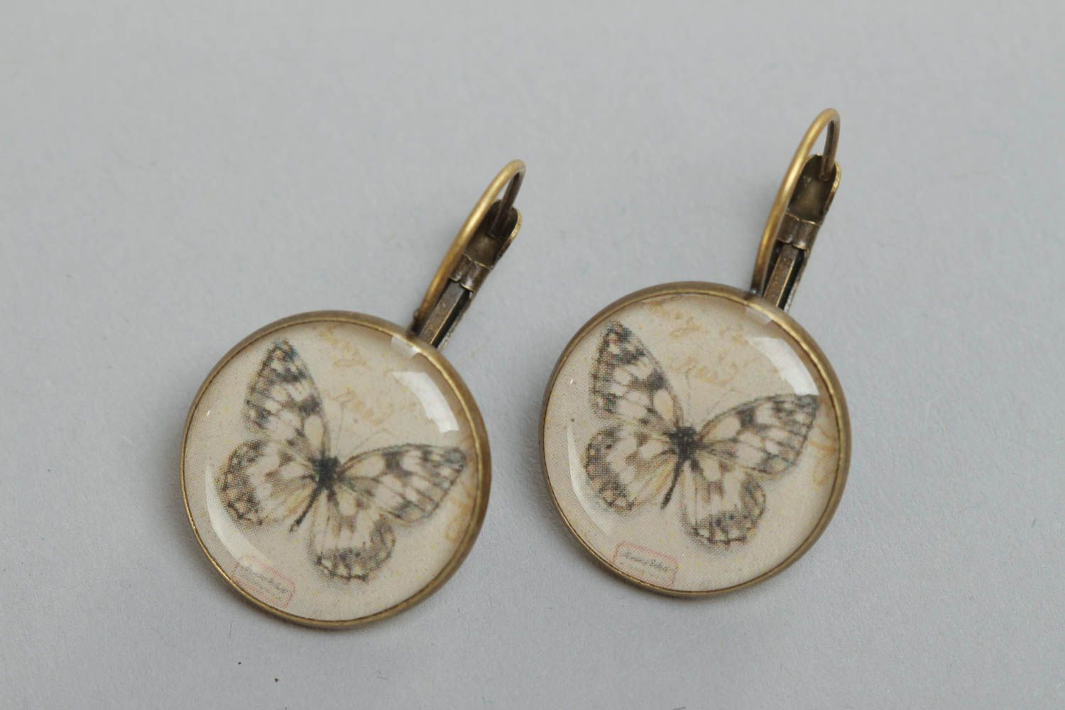 A set of handcrafted round vintage earrings made of glass glaze with butterflies  photo 2
