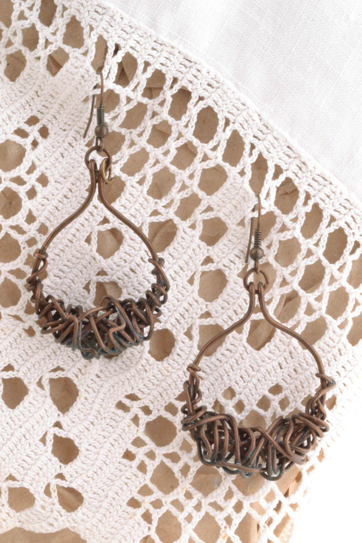 Copper earrings Pinstripes photo 1