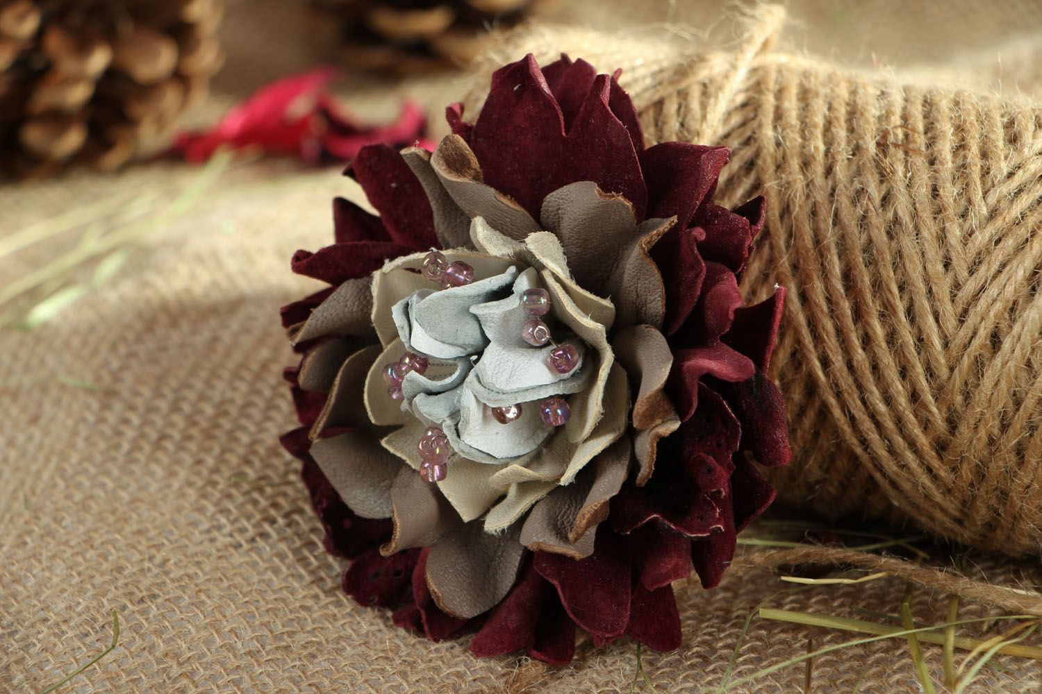 Large leather brooch photo 5