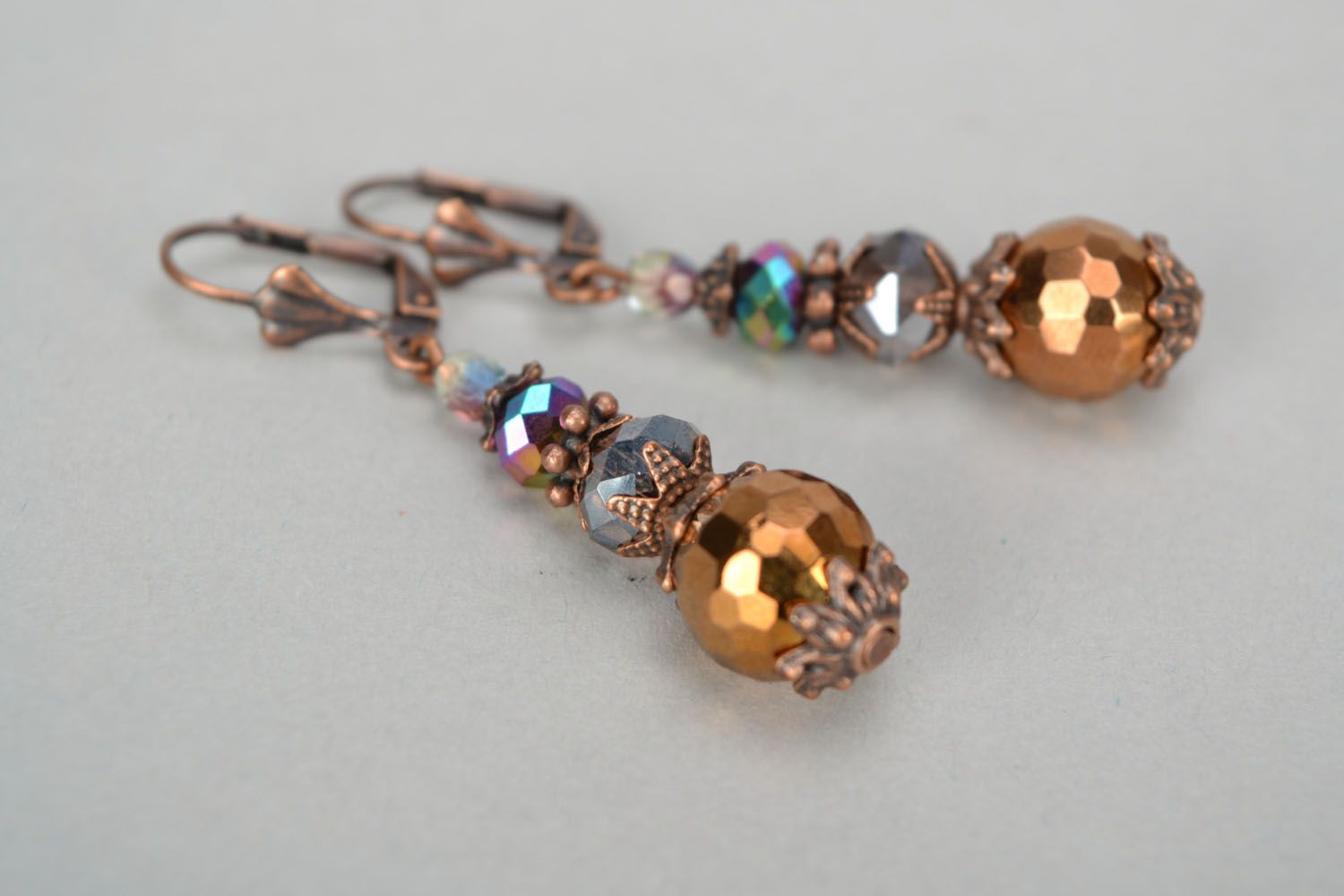 Crystal and glass earrings photo 3