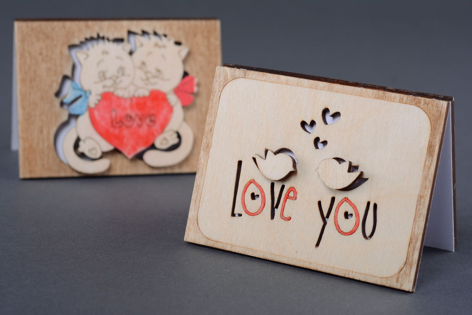Wooden St. Valentine's day greeting card photo 5