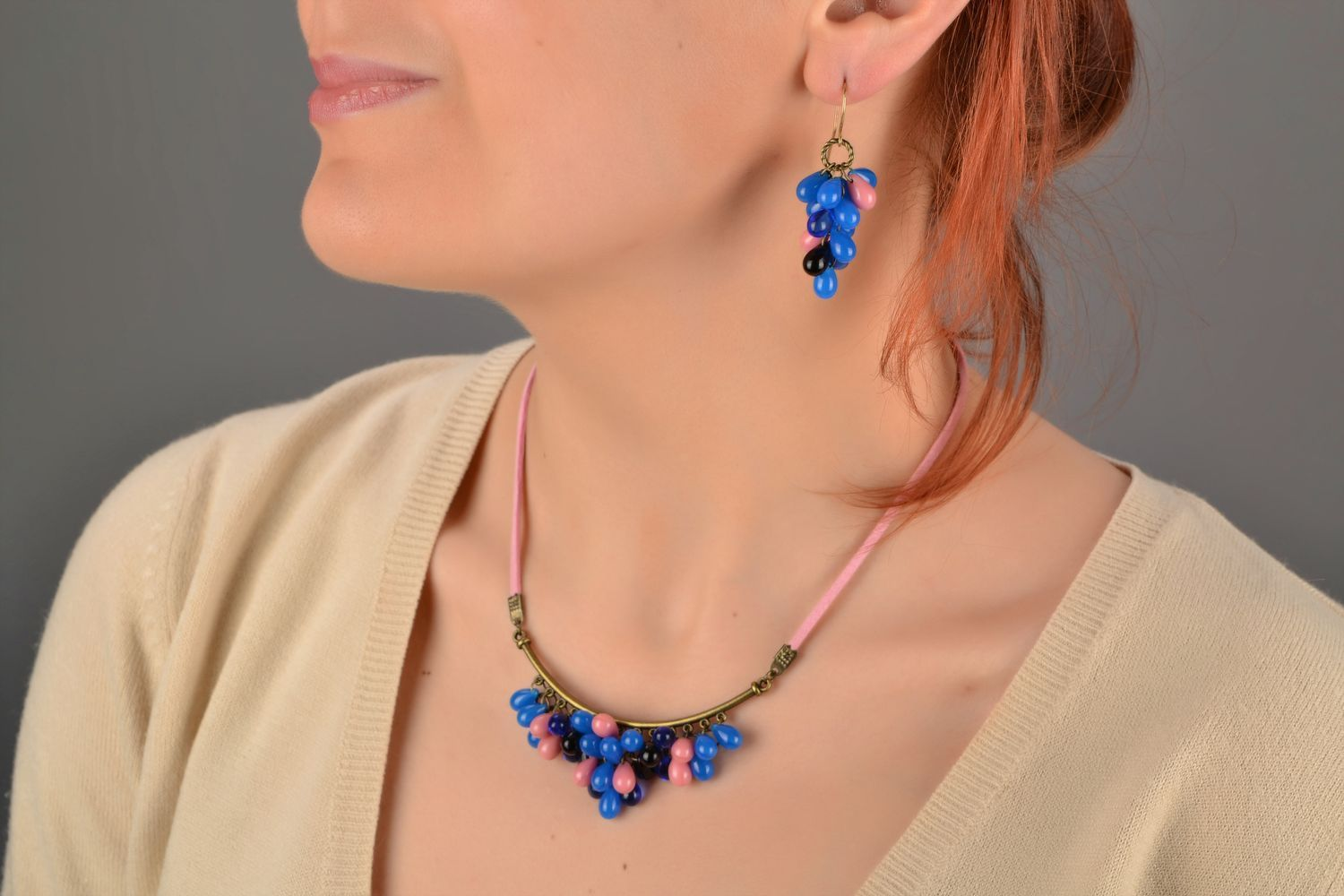 Beautiful blue handmade designer long earrings created of Czech glass photo 2