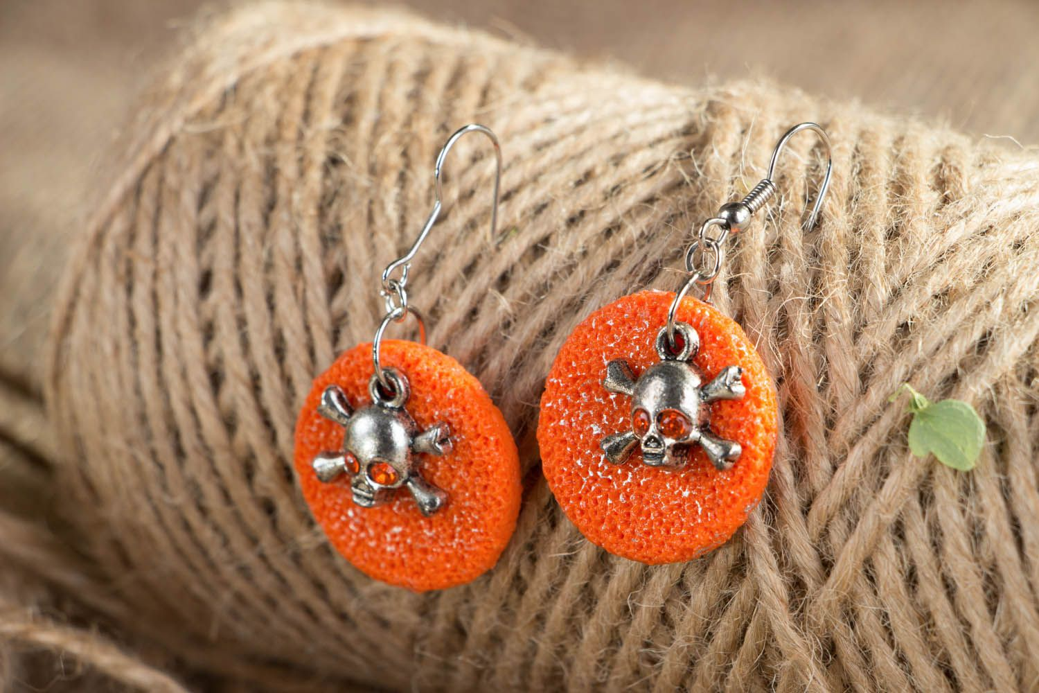 Polymer clay earrings with skulls photo 3