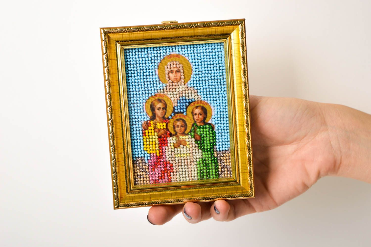 Handmade orthodox icon embroidered designer icon beautiful home amulet photo 5