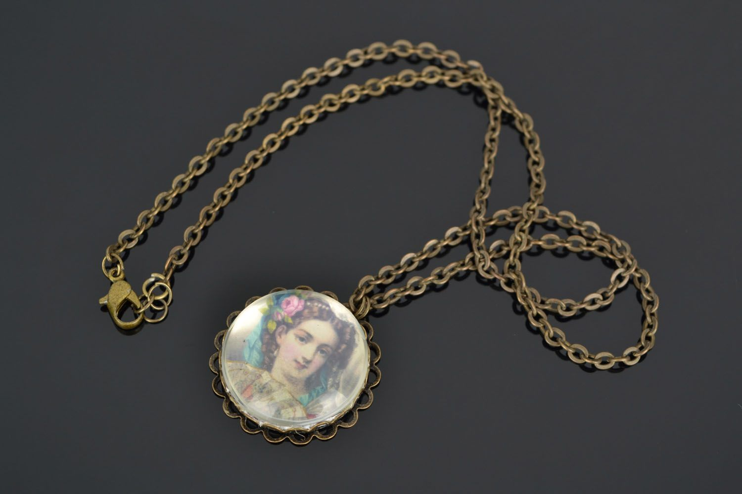Homemade pendant with long chain photo 1