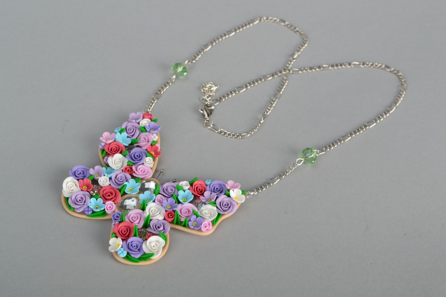 Polymer clay pendant Butterfly  photo 2