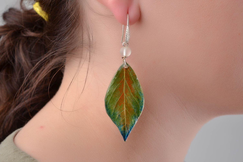 Handmade earrings glass earrings epoxy jewelry unusual gift leaf accessories photo 1