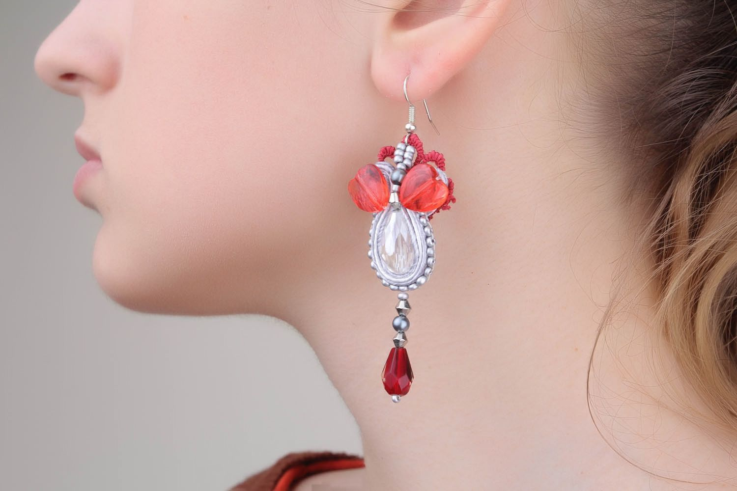 Long soutache earrings photo 1