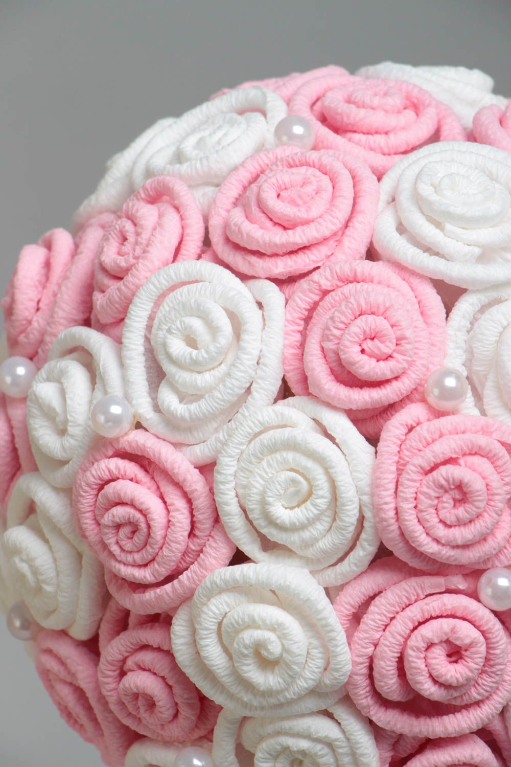Handmade decorative topiary tree with white and pink paper roses with beads photo 3