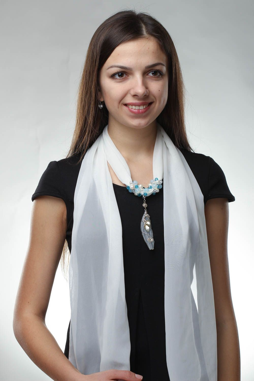 Chiffon scarf with pearls photo 1