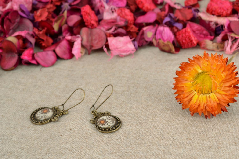 Round decoupage epoxy earrings photo 5
