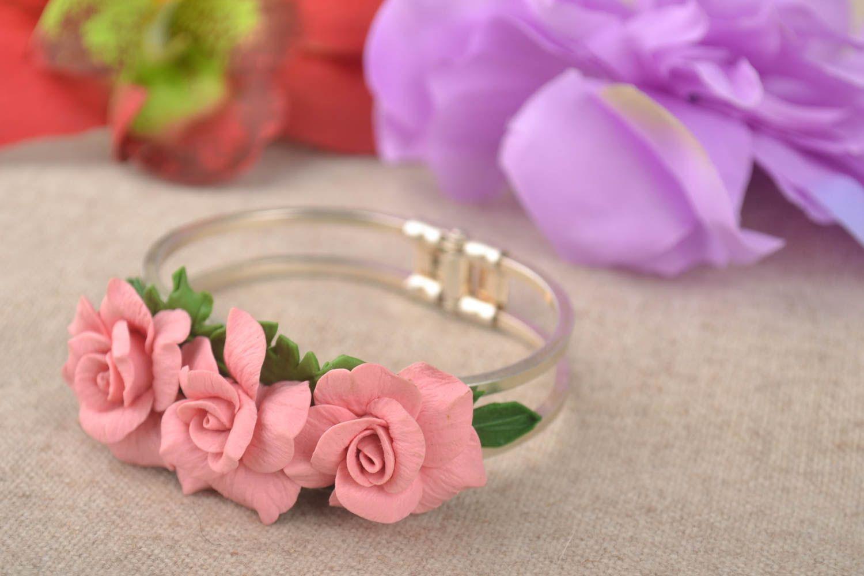 pulseras de arcilla polimérica Pulsera artesanal con flores de porcelana fría bisutería fina regalo para mujer