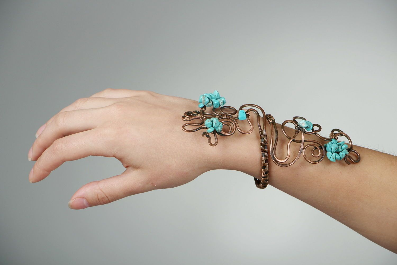 Copper bracelet with turquenite photo 5