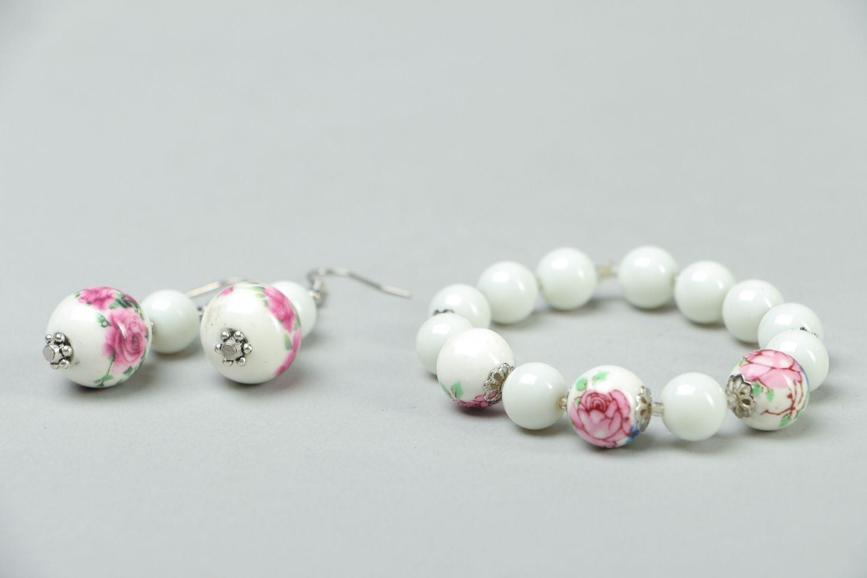 Ceramics and Czech glass jewelry set earrings and bracelet photo 3
