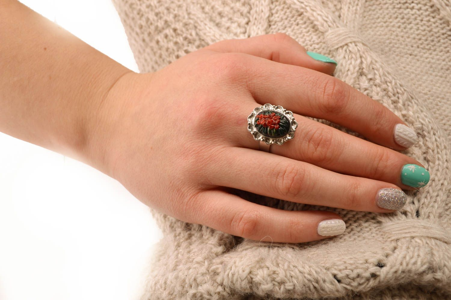 Polymer clay ring with adjustable size photo 5
