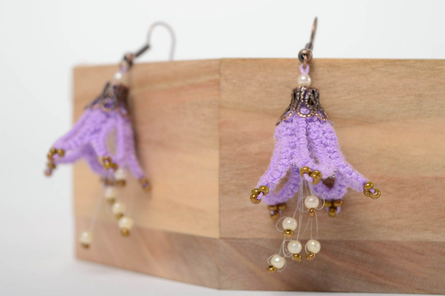 Textile earrings made using tatting technique photo 3