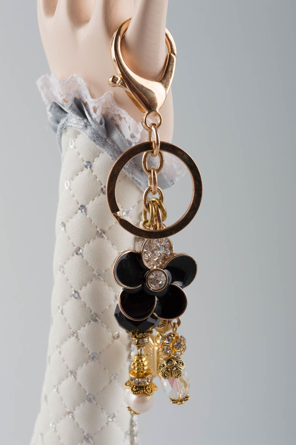 keychains Handmade keychain with natural stone brass keychain stone accessory for women - MADEheart.com