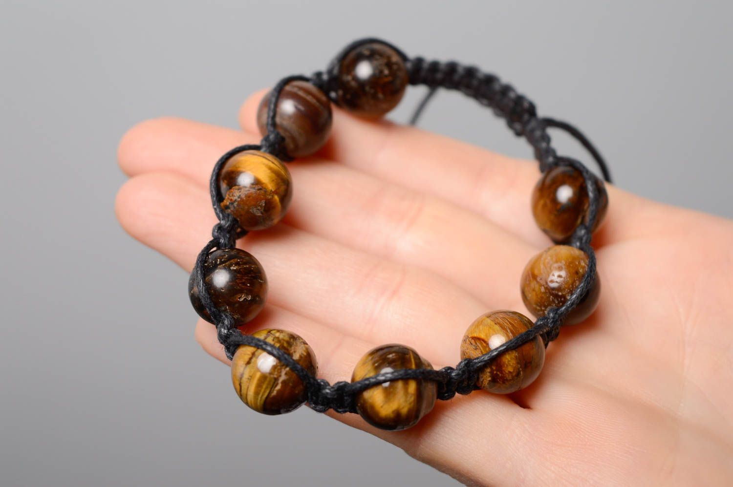 Woven bracelet with natural stone photo 4