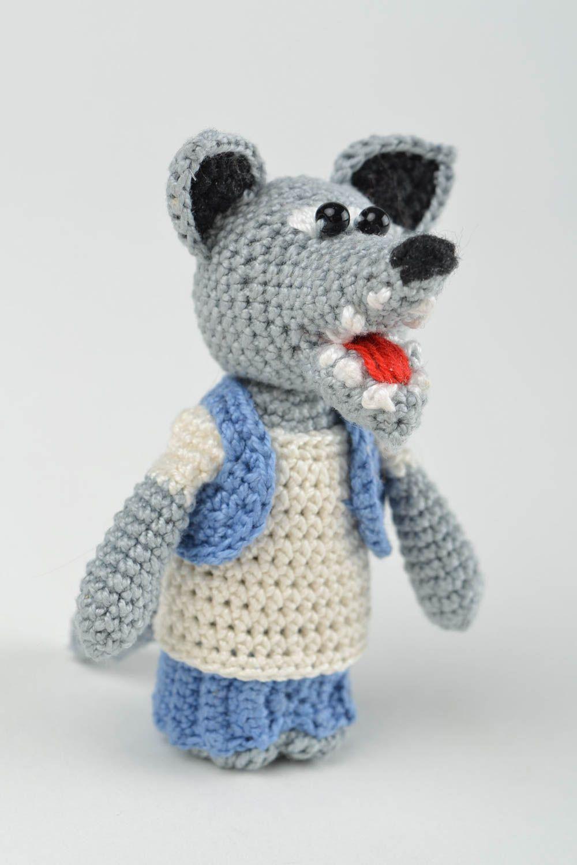 Madeheart marionnette doigt tricot jouet fait main loup fils coton crochet cadeau enfant - Tricot a la main ...