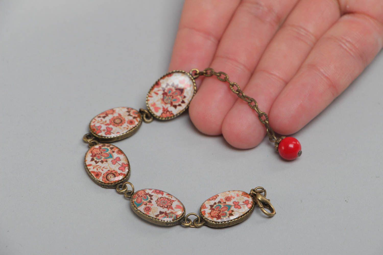 Handgemachtes bemaltes Armband aus Glasur an Kette im orientalischen Stil  foto 5