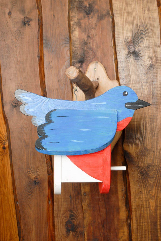 Painted wooden bird feeders