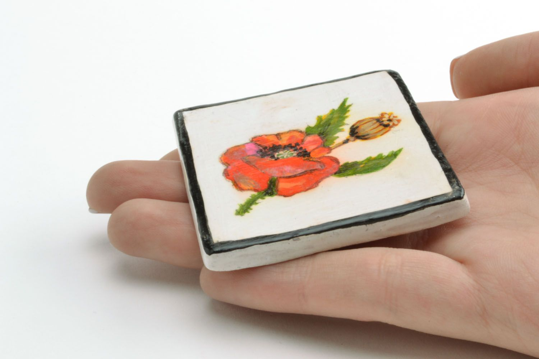 Homemade ceramic fridge magnet Poppy photo 2