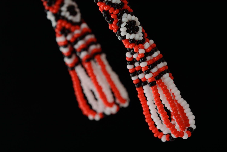 Long beaded earrings in ethnic style photo 2