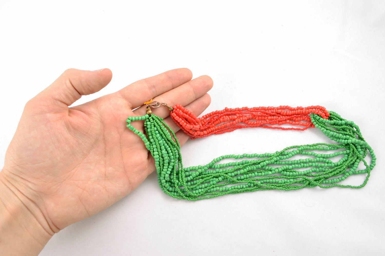 Mehrreihige Halskette aus Glasperlen rot-grün foto 5