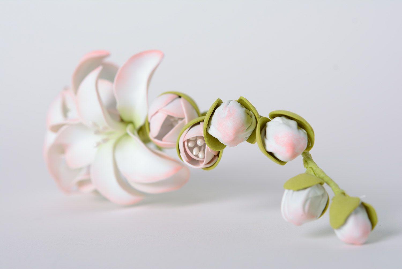 Festive large handmade foamiran fabric flower hair clip photo 4