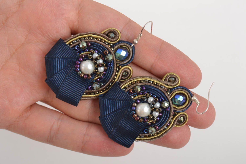 Большие серьги украшения ручной работы сутажные серьги с чешским стеклом синие фото 5