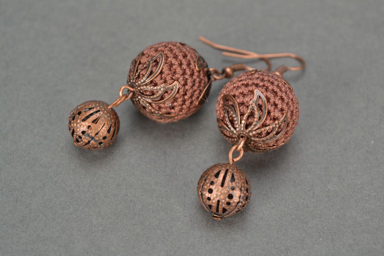 Crocheted earrings Juniper Balls photo 5