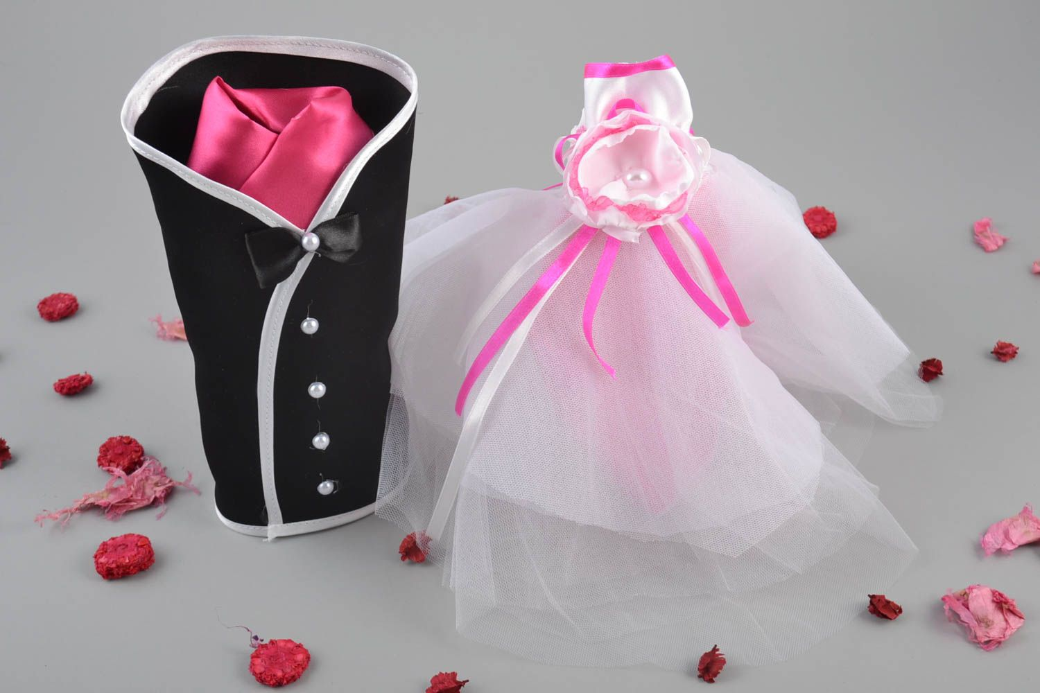 wedding accessories Handmade clothes groom and bride for champagne bottles set of 2 pieces - MADEheart.com