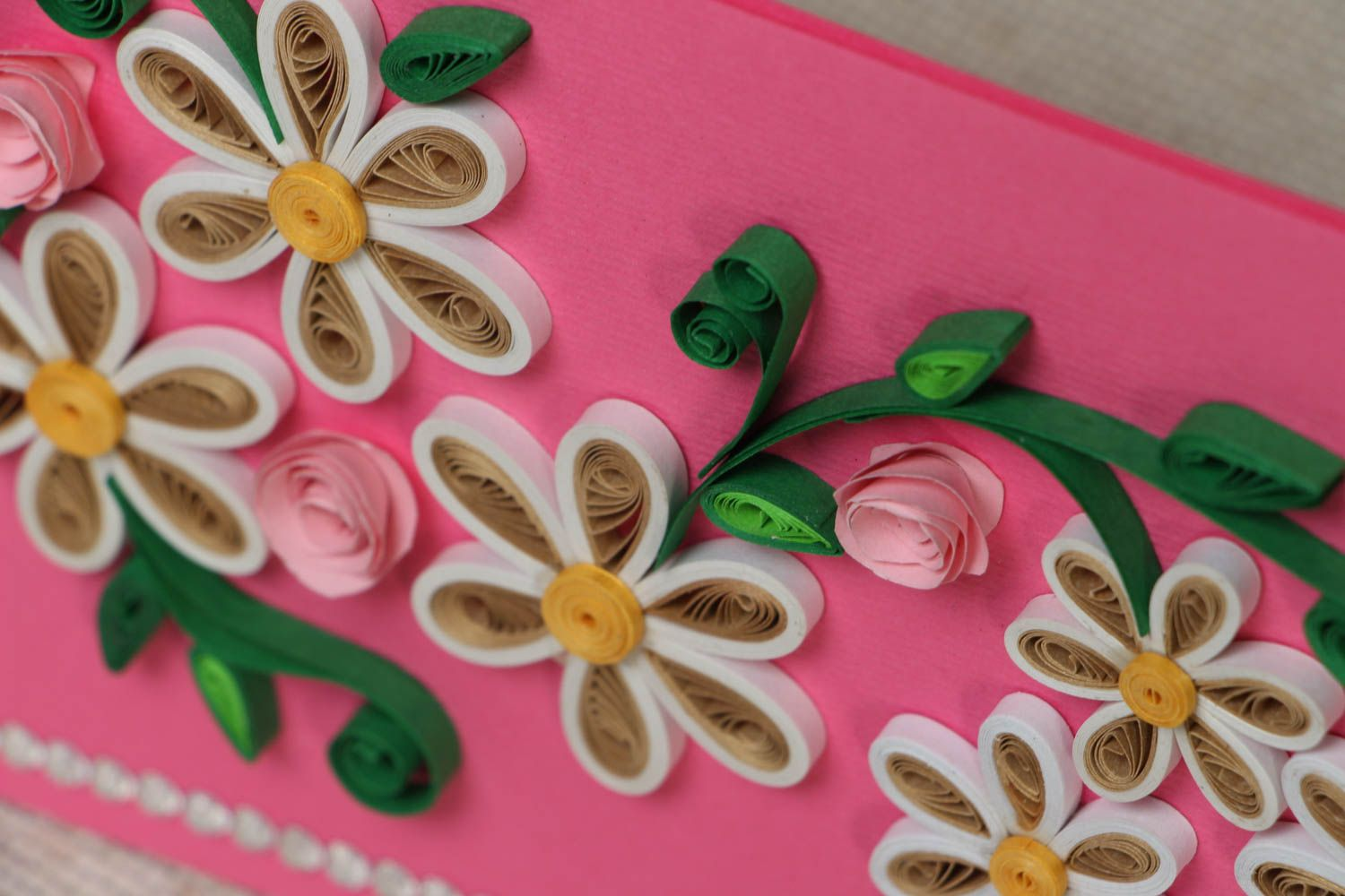 Quilling greeting card with flowers photo 2