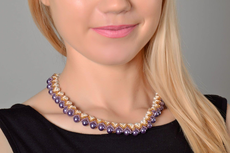 Lila Collier aus Perlen foto 1