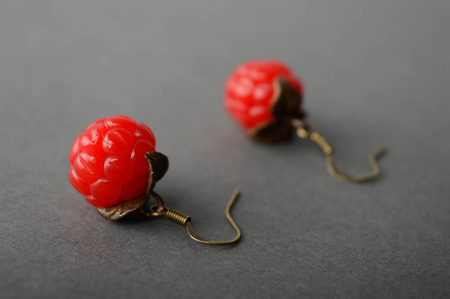 Polymer clay earrings with charms Raspberry photo 3