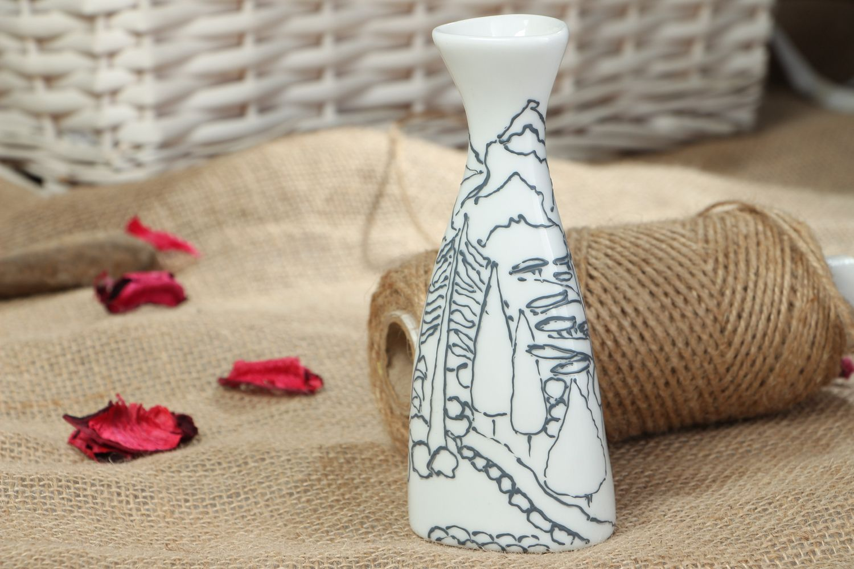 Beautiful painted glass flower vase photo 5