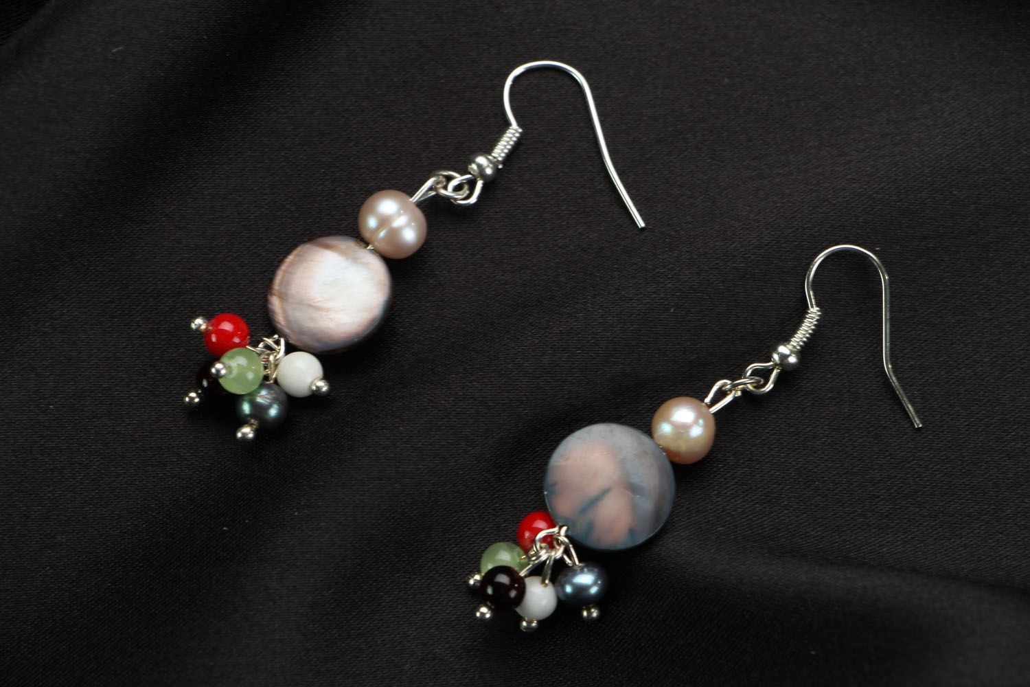 Earrings with natural stones photo 1
