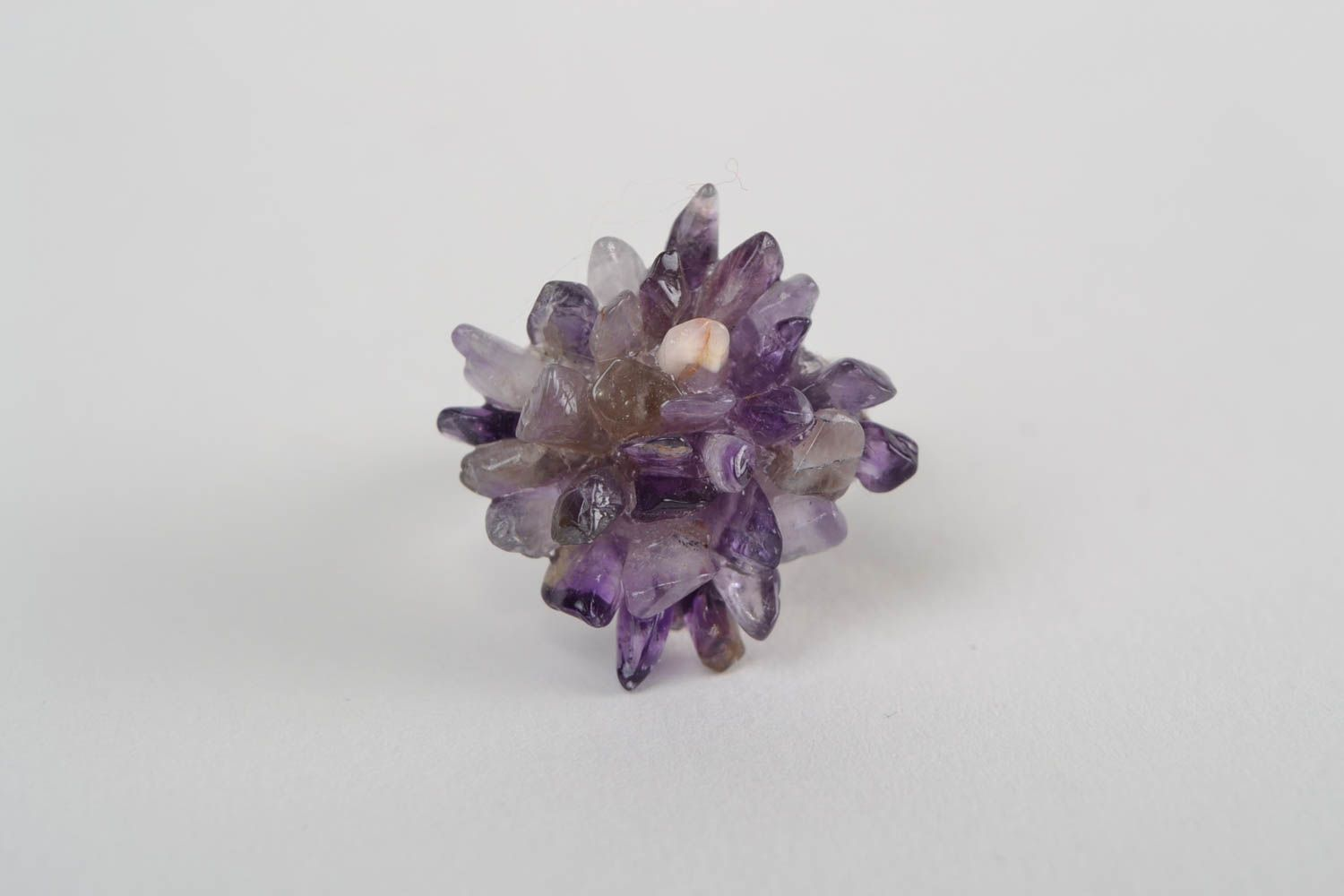 Square-shaped ring with natural stone amethyst beautiful handmade accessory photo 4