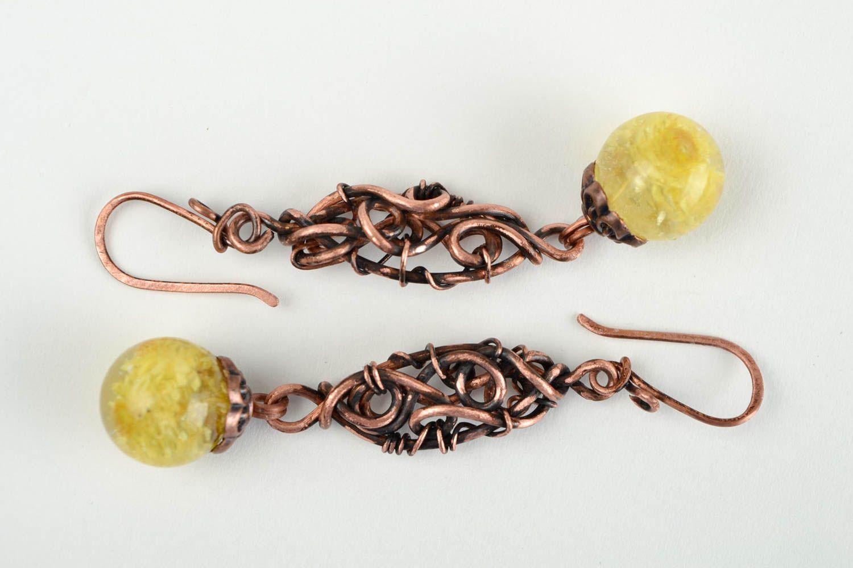 cde41c450b6b pendientes de alambrismo Pendientes de alambre de cobre aretes artesanales  bisutería elegante para mujer - MADEheart