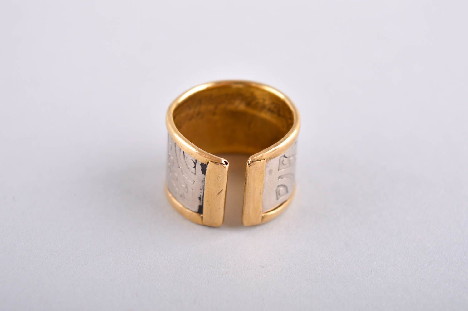 Designer ring unusual gift for women metal accessory brass ring unusual jewelry photo 4