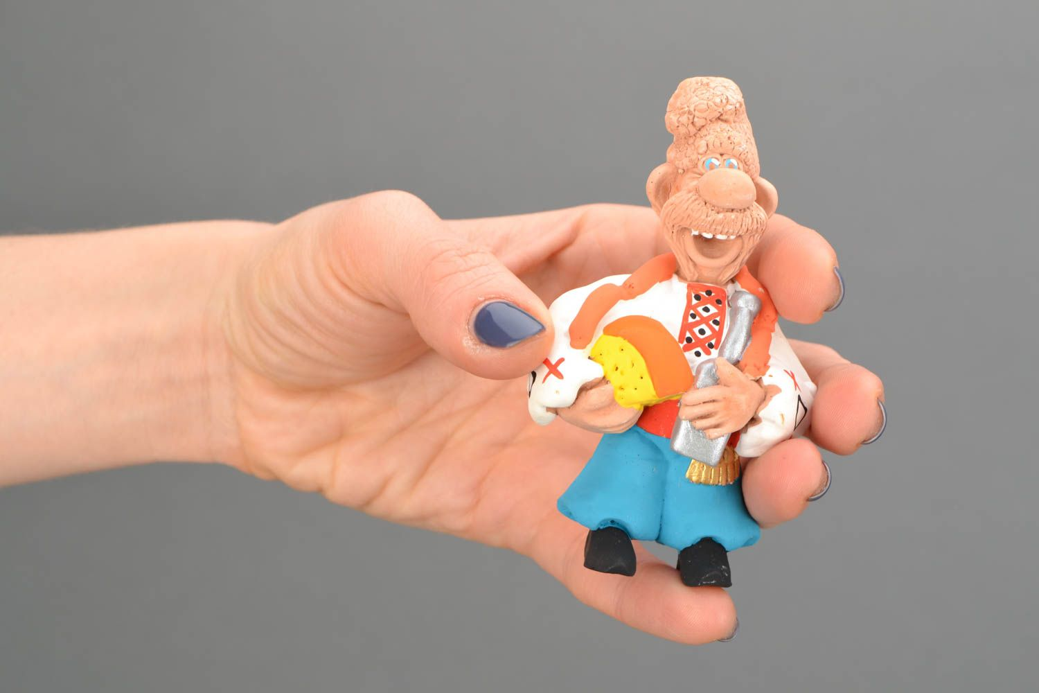 Clay fridge magnet Cossack with Cheese and Sausages photo 2