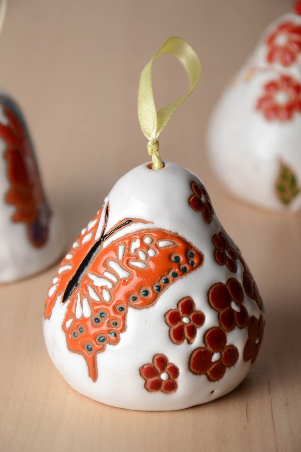 Handmade painted clay bell with beautiful butterfly  photo 1
