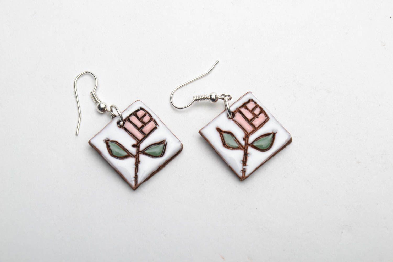 Ceramic earrings in ethnic style photo 3