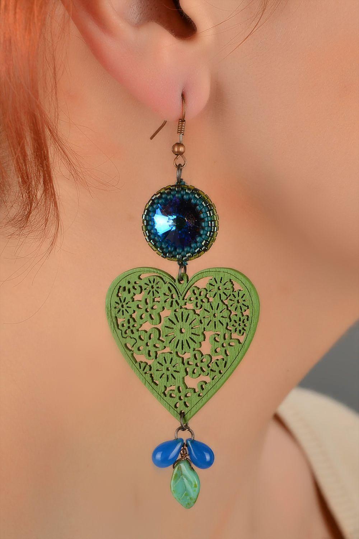 Grüne künstlerische Holz Ohrringe mit Glas handmade Schmuck für Frauen foto 5