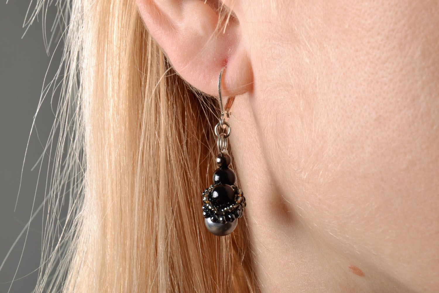 Earrings with charms Black Garnet photo 5