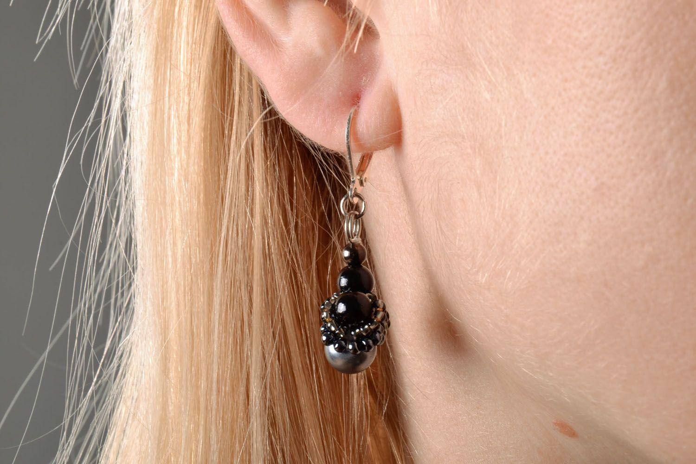 Lange Ohrringe in Schwarz foto 5