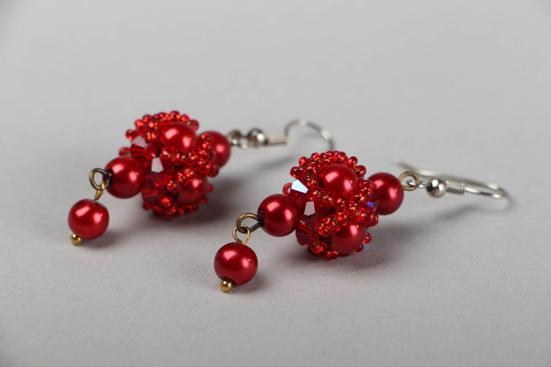 drop earrings Red beaded earrings  - MADEheart.com